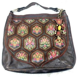 Isabella Fiore Patchwork Embroidered Hobo Bag